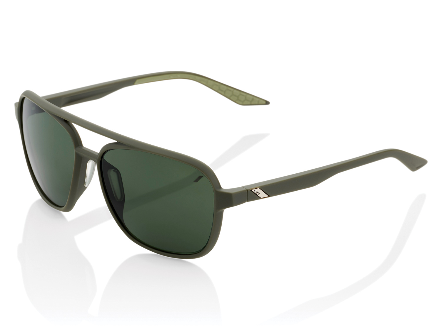 100% Kasia Aviator - Smoke Lense - soft tact army green